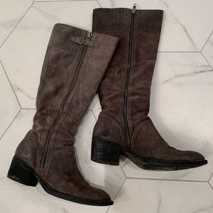 BORN Poly knee-high boots in distressed suede